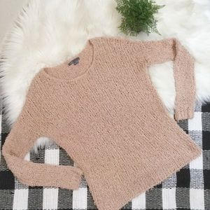 Vince blush eyelash fuzzy open knit scoop sweater
